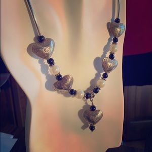 Jewelry - Sterling silver Heart necklace and earrings.